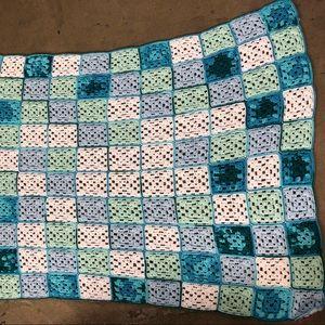 Vintage multicolor square boho Afghan blanket